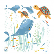 Demiawaking Cute Cartoon Whale Turtle Sea World Pattern Kids Wall Nightstool Decals