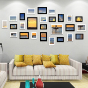 MultiWare 26pcs Multi Picture Photo Frames Home Wall Decoration Wooden Frame Set White Black