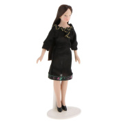 MagiDeal 1:12 Scale Miniature People Doll Career Woman in Dress Dollhouse Accessories