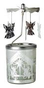 "Kerzenfarm ""Nativity Scene"" Rotary Carousel for Tealights, Metal and Glass, Silver, 16.5 cm High"
