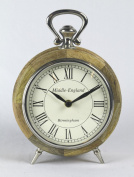 Round Desk Table Clock 24cm Middle England Birmingham Mango Wood Nickel