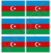 "AZERBAIJAN Azerbaijani Flag 40mm (1,6"") Mobile, Cell Phone Vinyl Mini Stickers, Decals x6"