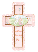 Precious Moments, Jesus Loves Me, Girl, Bisque Porcelain Cross with Stand, 102408