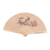 sourcingmap® Wooden Woman Summer Carved Peacock Flower Print Straight Rod Folding Fragrant Hand Fan