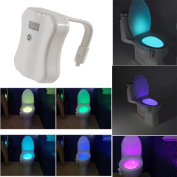FANCY CHEERY® Toilet Night Light, LED Sensor Motion Activated Toilet Night Light Battery-Operated with 8 Colours Changing Brightness Bathroom Night Light Toilet Bowl Light Fits any Toilet