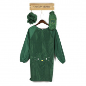 Long Sleeve Apron Adult Anti Dressing Kitchen Undergarment Waterproof Smoke Control Hat Apron Cuff Suit,Green
