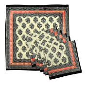 Royal Handicrafts Traditional Hand Printed Ethnic Jaipuri Table Napkins-Set of 6 - Black