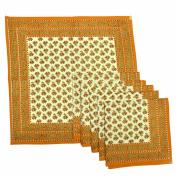 Royal Handicrafts Traditional Hand Printed Ethnic Jaipuri Table Napkins-Set of 6 - Orange