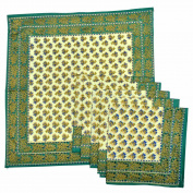 Royal Handicrafts Traditional Hand Printed Ethnic Jaipuri Table Napkins-Set of 6 - Green