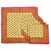 Royal Handicrafts Traditional Hand Printed Ethnic Jaipuri Table Napkins-Set of 6 - Pink