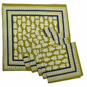 Royal Handicrafts Traditional Hand Printed Ethnic Jaipuri Table Napkins-Set of 6 - Mehandi