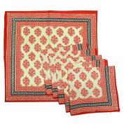 Royal Handicrafts Traditional Hand Printed Ethnic Jaipuri Table Napkins-Set of 6 - Red
