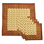 Royal Handicrafts Traditional Hand Printed Ethnic Jaipuri Table Napkins-Set of 6 - Maroon