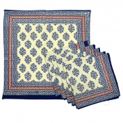 Royal Handicrafts Traditional Hand Printed Ethnic Jaipuri Table Napkins-Set of 6 - Blue