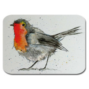 Robin Placemats - Set of 4 - Christmas Mats - Melamine with Cork Back - Sarah Boddy
