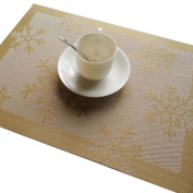 RainBabe Gold Colour Christmas Snowflake Placemat Printing Table Cover Table Mats 45x33cm