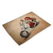 RainBabe Christmas Motorcycle Santa Placemat Printing Table Cover Table Mats Decor 42x32cm