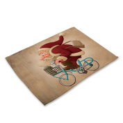 RainBabe Christmas Bicycle Santa Placemat Printing Table Cover Table Mats Decoration 42x32cm