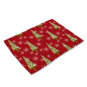 RainBabe Christmas Tree Placemats Printing Table Covers Table Mats Home Decoration 42x32cm
