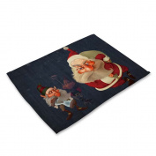 RainBabe Christmas Double Santa Placemat Printing Table Cover Table Mats Decoration 42x32cm