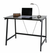 OneSpace Contemporary Glass Writing Desk, Steel Frame, Black