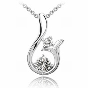 Austrian Crystal Necklace - Sun High-End Plated White Gold Pendant Items , white