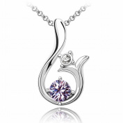 Austrian Crystal Necklace - Sun High-End Plated White Gold Pendant Items , Purple orchid 1-261