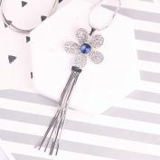 All Match Blue Crystal long Necklace Sun Flower for Women Tassel Pendant Sweater Chain Jewellery , Blue diamond flower tassels
