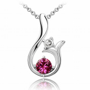 Austrian Crystal Necklace - Sun High-End Plated White Gold Pendant Items , purplish red