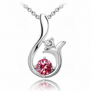 Austrian Crystal Necklace - Sun High-End Plated White Gold Pendant Items , rose red
