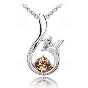 Austrian Crystal Necklace - Sun High-End Plated White Gold Pendant Items , light yellow