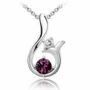 Austrian Crystal Necklace - Sun High-End Plated White Gold Pendant Items , purple
