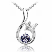 Austrian Crystal Necklace - Sun High-End Plated White Gold Pendant Items , Lotus purple 1-261