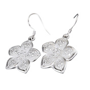 Sixcup® Silver Ladies' Elegant Wire Earrings With Flower Pendant Earring droops for Women