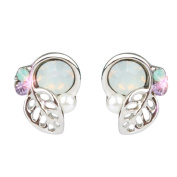 ✿Christmas Gift✿,Sixcup® Fashion New Fashion Green Pink Crystal Rhinestone Earrings Small Lovely Leaves Stud Earrings