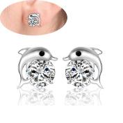 Lanaso Dolphin Earrings Ear Studs Silver Sterling Plated Ear Stud Earring Jewellery Accessories