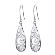 Christmas Silver Vintage Filigree Tear Drop Dangel Earrings for Women,Sixcup® Best Gift for Mum/Daughter/Girlfriend Gift with Gift Packed