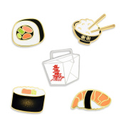 PinMart's Asian Cuisine Sushi and Chinese Take Out Enamel Lapel Pin Set
