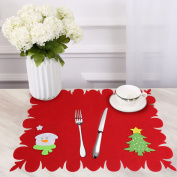 Winter Christmas Holiday Placemat Heat-resistant Washable Table Place Mats for Kitchen