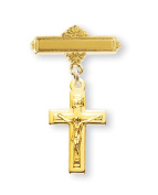 Gold Over Sterling Silver Baby Crucifix on a Bar Pin
