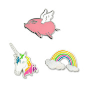 PinMart's Over the Rainbow Flying Pig and Unicorn Enamel Lapel Pin Set