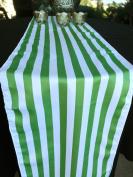 Quasimoon Striped Pattern Table Runner - Apple Green (12 x 108) by PaperLanternStore