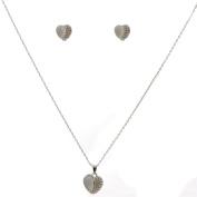 Rhodium Plating Crystal Stud Earrings and Pendant Necklace Jewellery Set