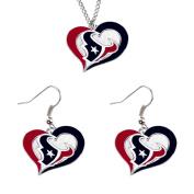 Aminco NCAA Houston Texans Swirl Heart Pendant Necklace And Earring Set Charm Gift