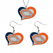 Aminco NCAA Chicago Bears Swirl Heart Pendant Necklace And Earring Set Charm Gift