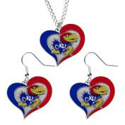 Aminco NCAA Kansas Jayhawks Swirl Heart Pendant Necklace And Earring Set Charm Gift