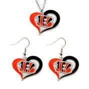 Aminco NCAA Cincinnati Bengals Swirl Heart Pendant Necklace And Earring Set Charm Gift