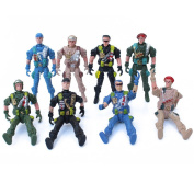 MagiDeal 9cm Plastic Special Force Action Figure World War II Soldiers Toy - 10 Pieces