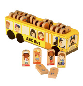 Fiesta Crafts T-2875 Wooden Alphabet School Bus Toy