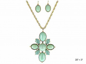 Orange Mint Green Pendant Necklace Set Earrings & Gold-tone Chain by Jewellery Nexus